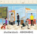 people with bags and suitcases... | Shutterstock .eps vector #484044841