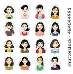 avatar illustrations of women... | Shutterstock .eps vector #484044991