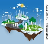 the concept of city go green ... | Shutterstock .eps vector #484045999