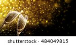 glasses of champagne on bright... | Shutterstock .eps vector #484049815
