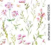 watercolor floral pattern ... | Shutterstock . vector #484051534