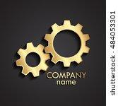 3d golden gears logo | Shutterstock .eps vector #484053301