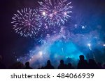 people watching the fireworks | Shutterstock . vector #484066939