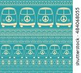 hippie vintage car a minivan.... | Shutterstock .eps vector #484068055