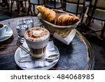 beautiful cup of coffee... | Shutterstock . vector #484068985