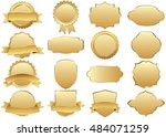 label vector icon set gold... | Shutterstock .eps vector #484071259