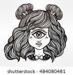cute cyclops monster girl.... | Shutterstock .eps vector #484080481