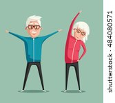 senior people and gymnastics.... | Shutterstock .eps vector #484080571