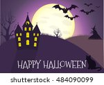 happy halloween house scary on... | Shutterstock .eps vector #484090099