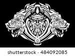 the evil ranger with wolves | Shutterstock .eps vector #484092085