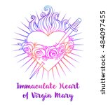 immaculate heart of blessed...   Shutterstock .eps vector #484097455