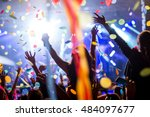 crowd of people raising their...   Shutterstock . vector #484097677
