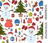 seamless christmas pattern... | Shutterstock .eps vector #484098241