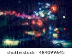rain drops on window with road... | Shutterstock . vector #484099645