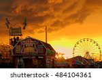 County Fair Midway At Sunset...