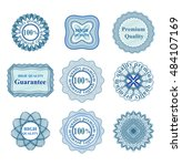 set of blue vector guilloche... | Shutterstock .eps vector #484107169