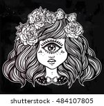 cute cyclops monster girl.... | Shutterstock .eps vector #484107805