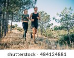 young sporty couple running in... | Shutterstock . vector #484124881
