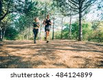 young sporty couple running in... | Shutterstock . vector #484124899
