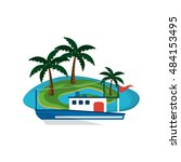 tropical island and boat or... | Shutterstock .eps vector #484153495