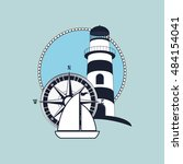 lighthouse emblem image  | Shutterstock .eps vector #484154041