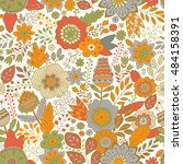 vector floral pattern in doodle ... | Shutterstock .eps vector #484158391