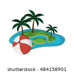 tropical island and beach ball... | Shutterstock .eps vector #484158901