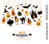 halloween banner on white... | Shutterstock .eps vector #484162831