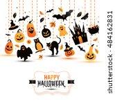 halloween banner on white... | Shutterstock .eps vector #484162831