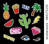 fashion patch badges with... | Shutterstock .eps vector #484172155