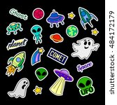 fashion patch badges. ufo set.... | Shutterstock .eps vector #484172179