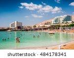 dead sea  israel   may 30  2015 ... | Shutterstock . vector #484178341