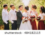 bridesmaids have fun while... | Shutterstock . vector #484182115