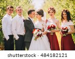 bridesmaids have fun while... | Shutterstock . vector #484182121