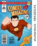comic book cover template... | Shutterstock .eps vector #484183141