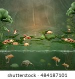fantasy green pond with water... | Shutterstock . vector #484187101