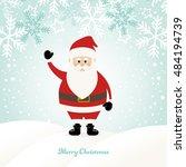 lovely santa claus at winter... | Shutterstock .eps vector #484194739