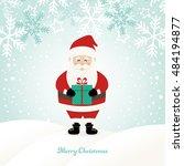lovely santa claus at winter... | Shutterstock .eps vector #484194877