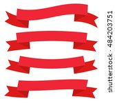 retro flat ribbon red...   Shutterstock .eps vector #484203751