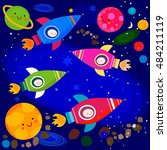 stars and planets colorful...   Shutterstock .eps vector #484211119