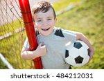 a young caucassian soccer... | Shutterstock . vector #484212031