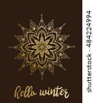 hello winter golden snowflake... | Shutterstock .eps vector #484224994