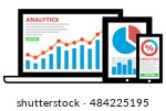 responsive analytics on laptop... | Shutterstock .eps vector #484225195