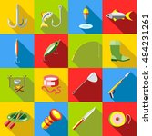 flat fishing icons set.... | Shutterstock . vector #484231261