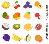 isometric fruit icons set.... | Shutterstock . vector #484231285