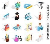 isometric education icons set....