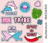 set of trendy colorful patch... | Shutterstock .eps vector #484236505