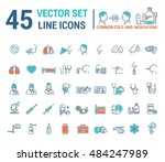 vector graphic set in linear... | Shutterstock .eps vector #484247989