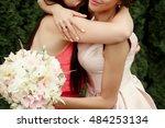 luxury bride hugging bridesmaid ... | Shutterstock . vector #484253134