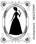 retro with lady silhouette.... | Shutterstock .eps vector #484253989